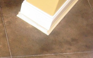protect wood trim during floor prep prior to decorative concrete staining