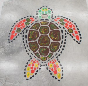 Finished decorative concrete mosaic turtle.